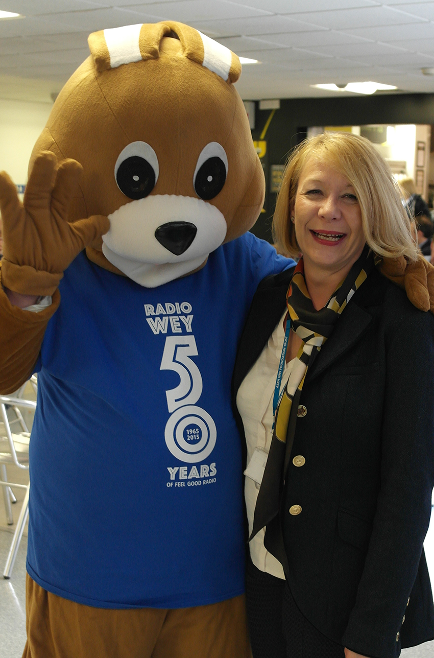 Suzanne Rankin with Roddy the mascot