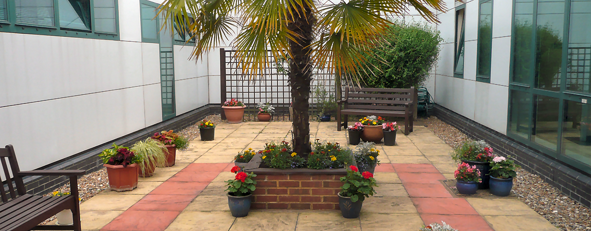 The outdoor area by the Day Surgery Unit - click here to find out more about Day Case services