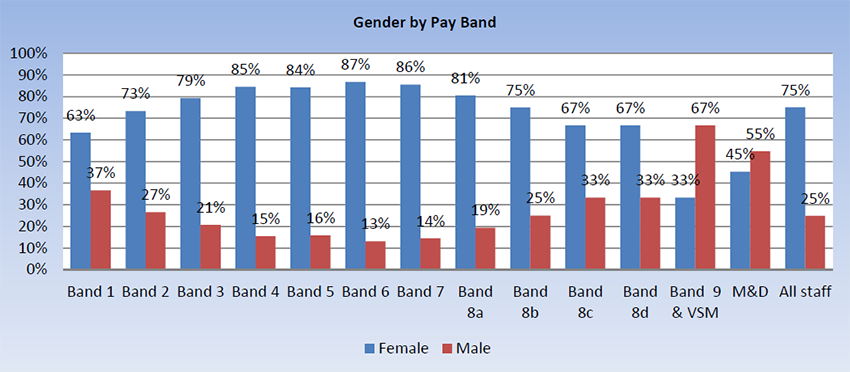 Gender by pay band