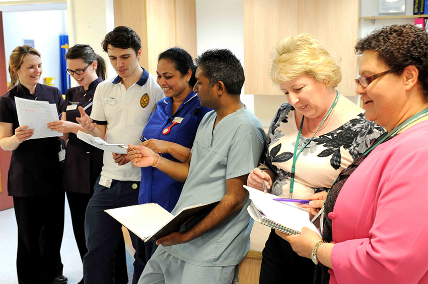 Multidisciplinary team meeting to discuss stroke patients on Cedar Ward