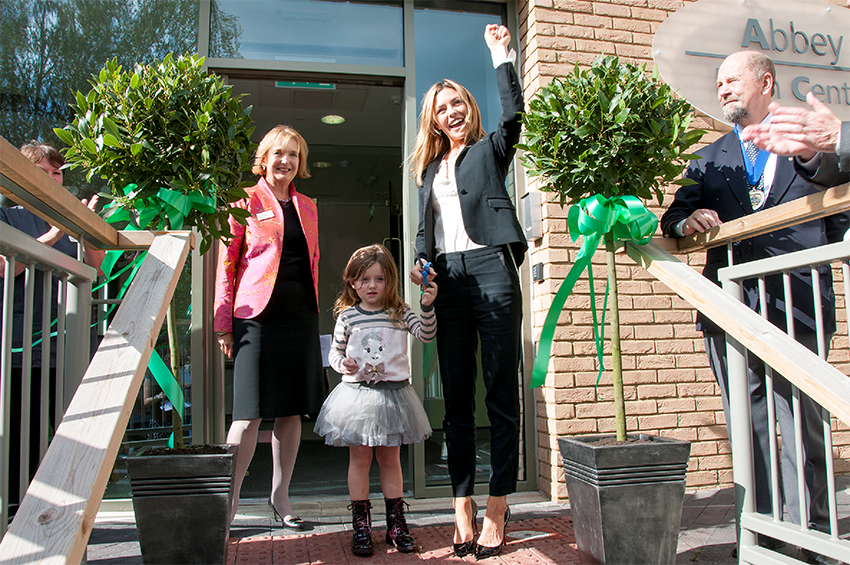 The official opening of the Abbey Birth Centre in September 2014. Chairman Aileen McLeish with celebrity Abbey Clancy and her daughter
